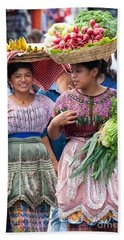 Fruit Sellers In Antigua Guatemala Beach Towel