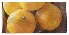 Fruit Still Life Oranges And Antique Silver Beach Sheet
