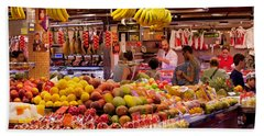 Fruits At Market Stalls, La Boqueria Beach Towel by Panoramic Images