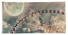 Full Moon And Ferris Wheel Beach Towel