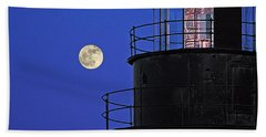 Beach Towel featuring the photograph Full Moon And West Quoddy Head Lighthouse Beacon by Marty Saccone
