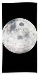 Full Moon In Black Night Beach Towel by Janice Dunbar