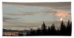 Full Moon Over Homer Alaska Beach Towel