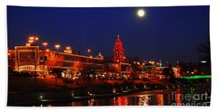 Full Moon Over Plaza Lights In Kansas City Beach Towel
