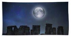 Full Moon Over Stonehenge Beach Towel