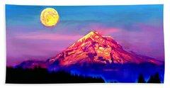 Full Moon Rising Over Mount Hood Oregon Beach Sheet