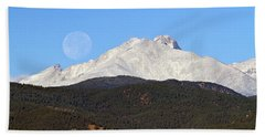 Full Moon Setting Over Snow Covered Twin Peaks  Beach Towel