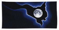 Full Moon Silver Lining Beach Towel by Janice Dunbar