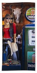 Full Service Route 66 Gas Station Beach Towel by Priscilla Burgers