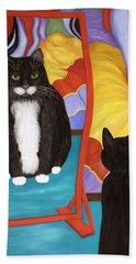 Beach Towel featuring the painting Fun House Fat Cat by Karen Zuk Rosenblatt