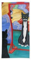 Beach Towel featuring the painting Fun House Skinny Cat by Karen Zuk Rosenblatt
