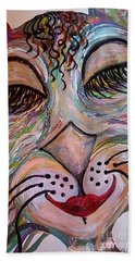 Beach Towel featuring the painting Funky Feline  by Eloise Schneider