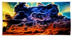 Funky Glowing Electrified Rainbow Clouds Abstract Beach Sheet