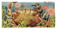 Furrowed Crab With Starfish Underwater Beach Towel