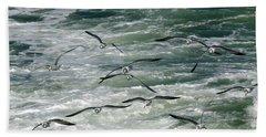 Fying Gulls Beach Towel
