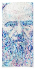 Fyodor Dostoyevsky / Colored Pens Portrait Beach Sheet by Fabrizio Cassetta