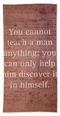 Galileo Quote Science Astronomy Math Physics Inspirational Words On Canvas Beach Towel