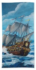 Galleon At Night Beach Sheet