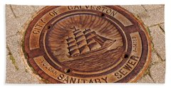 Beach Towel featuring the photograph Galveston Texas Manhole Cover by Connie Fox