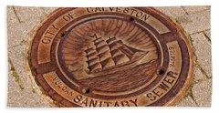 Galveston Texas Manhole Cover Beach Sheet by Connie Fox