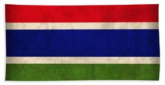 Gambia Flag Vintage Distressed Finish Beach Towel