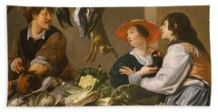 Game And Vegetable Sellers Oil On Canvas Beach Towel by Theodor Rombouts