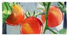 Garden Cherry Tomatoes  Beach Towel by Irina Sztukowski