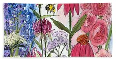 Garden Flower And Bees Beach Towel