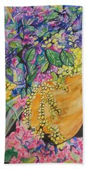 Garden Flowers In A Pot Beach Towel