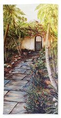 Garden Gate To Rosemary's Cottage Beach Towel