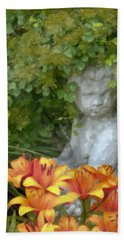 Beach Towel featuring the photograph Garden Girl And Orange Lilies Digital Watercolor by Sandra Foster