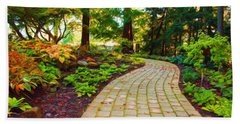 Beach Towel featuring the painting Garden Path by Michelle Joseph-Long