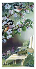 Chickadees In Blossom Tree Beach Towel
