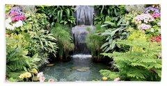 Garden Waterfall Beach Towel
