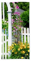 Garden With Picket Fence Beach Towel