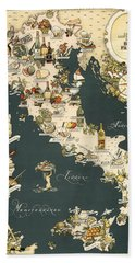 Gastronomic Map Of Italy 1949 Beach Towel