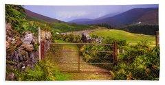 Gates On The Road. Wicklow Hills. Ireland Beach Towel
