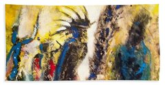 Beach Towel featuring the painting Gathering 2 by Kicking Bear  Productions