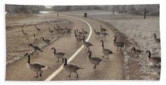 Geese Crossing Beach Towel