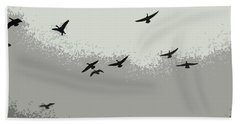 Beach Towel featuring the photograph Geese In Sillouehette by Nina Silver