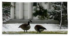 Geese In Snow Beach Towel by Kathy Barney
