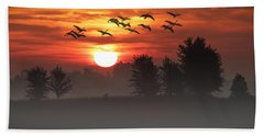 Geese On A Foggy Morning Sunrise Beach Sheet
