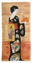 Beach Towel featuring the painting Geisha by Mini Arora