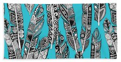 Geo Feathers Turquoise Blue Beach Towel