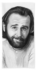George Carlin Portrait Beach Sheet by Olga Shvartsur