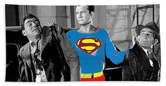 George Reeves As Superman In His 1950's Tv Show Apprehending Two Bad Guys 1953-2010 Beach Sheet