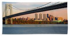 George Washington Bridge In Autumn Beach Towel