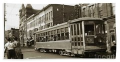 Georgetown Trolley E Market St Wilkes Barre Pa By City Hall Mid 1900s Beach Towel