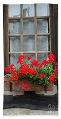 Geraniums In Timber Window Beach Sheet by Barbie Corbett-Newmin