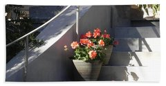 Geraniums Look Better In Beaufort Beach Towel by Patricia Greer